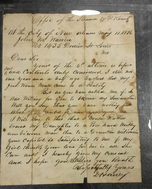 Captain David Haney's letter