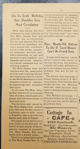 Inside spread of West Omaha Star newspaper
