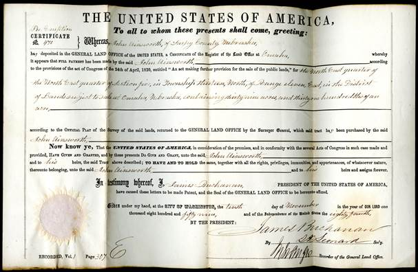 Deed from the U.S. Land Office